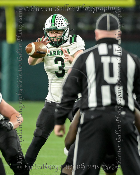 Southlake quarterback #3 Quinn Ewers takes the snap.