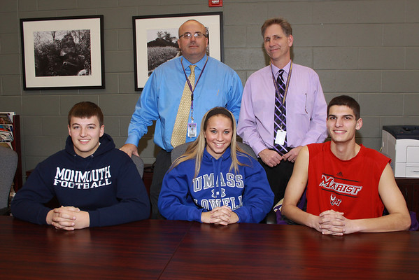 Letters of intent Feb 2014 for Tyler Utheim , Marist Soccer, Taylor Evanchik, U Mass Lowell, Soccer, and Russ Clayton, Football , Monmouth U.