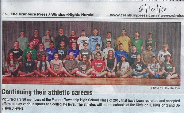 MTHS Class of 2016 Srs College Bound to Play various Sports
