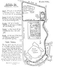 """SPECIAL OLYMPICS 5K course map USATF course certification and map by Mr. Exacto, Bill McGuire. This course, originally used for the AMSA 5K, is a very fast """"PR"""" venue. Other Tallahassee certified courses may be viewed here:  http://tinyurl.com/27d6kx"""