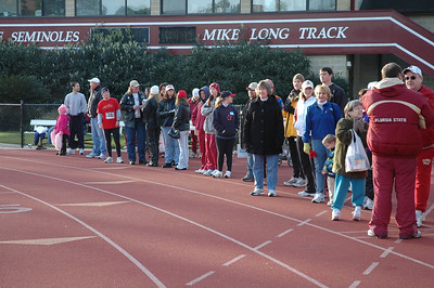 A portion of the crowd assembled at the opposite end of the track from the 1K start. Finish will be just behind where I'm standing.