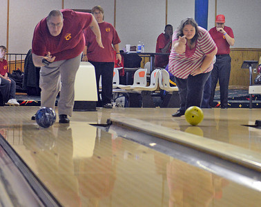 Jesse Hocult and Laura Heddings bowl at Imperial Lanes in Milton on Sunday afternoon for the Northumberland-Snyder County Special Olympics team.