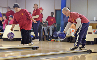 Sherri Cole and Kenny Meier bowl at Imperial Lanes in Milton on Sunday afternoon for the Northumberland-Snyder County Special Olympics team.