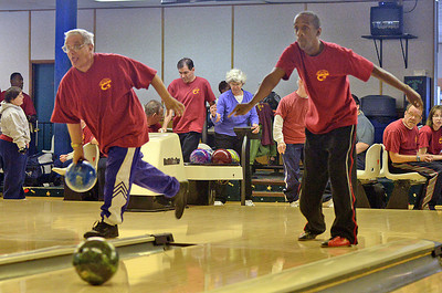 Mike Magma and Steven King bowl at Imperial Lanes in Milton on Sunday afternoon for the Northumberland-Snyder County Special Olympics team.