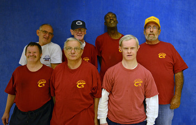 Back Row: Mark Nace, Bobby Patterson, Ed Reynolds, Coach Doug Heddings Front Row: Sam Kaplan, Mike Magma and Ken Meier These men are the original bowlers of the Northumberland-Snyder County Special Olympics Bowling team started by Heddings 32 years ago.