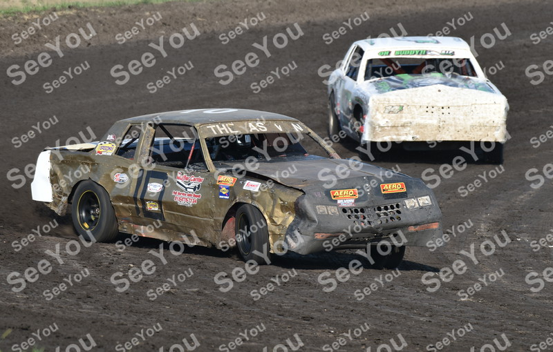 -Messenger photo by Britt Kudla<br /> Danny Sassman Jr. of Hobby Stock compete during hot Laps on Sunday at Sports Speedway