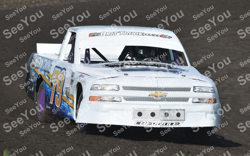-Messenger photo by Britt Kudla<br /> Shonn Mapes of Dirt Trucks compete during hot laps on Sunday