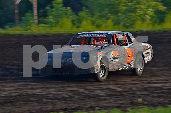 -Messenger photo by Britt Kudla<br /> Myles Michehl of Fort Dodge places 1st during heat 1 on Sunday at the mineral city speedway