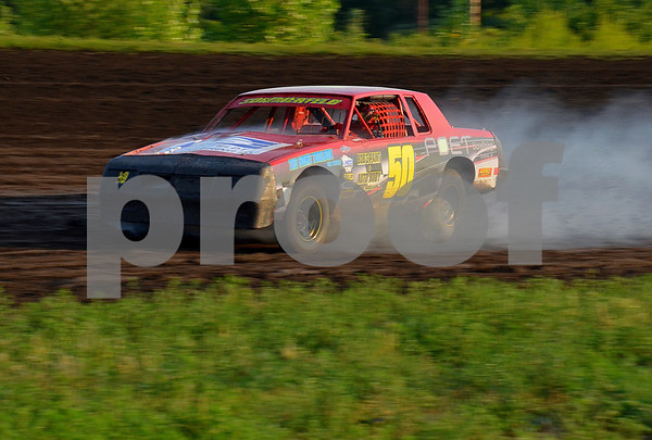 -Messenger photo by Britt Kudla<br /> Bryce Sommerfeld blows a tire during heat 2 at Mineral City Speedway on Sunday