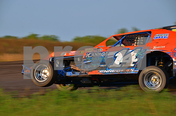 -Messenger photo by Britt Kudla<br /> Donovon Kerrebeck of Sac City takes his final lap during the Mineral City Speedway races on Sunday