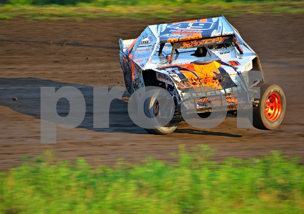 -Messenger photo by Britt Kudla<br /> Cody Knecht competes in the Sport Modified on Sunday at Mineral City Speedway