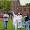 Alexander Muneton heaves his first effort at the Soft Toss competition as Bronx NY State Court House Vince Devito and Debby Senese judge.