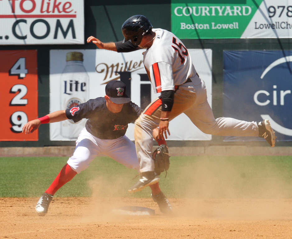 . Lowell Spinners vs Aberdeen IronBirds baseball. Spinners shortstop Andre Colon tags out Aberdeen\'s Robbie Thorburn trying to steal second in the top of the second inning. (SUN/Julia Malakie)