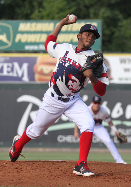Lowell Spinners vs Hudson Valley Renegades baseball. Spinners starting pitcher Eduard Bazardo. (SUN/Julia Malakie)