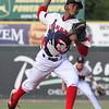 Lowell Spinners vs Hudson Valley Renegades baseball. Spinners starting pitcher Eduard Bazardo. (SUN/Julia Malakie)