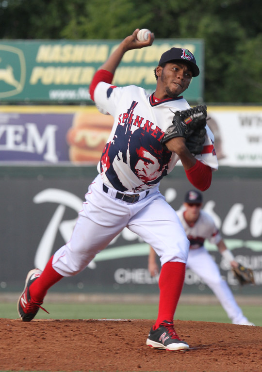 . Lowell Spinners vs Hudson Valley Renegades baseball. Spinners starting pitcher Eduard Bazardo. (SUN/Julia Malakie)
