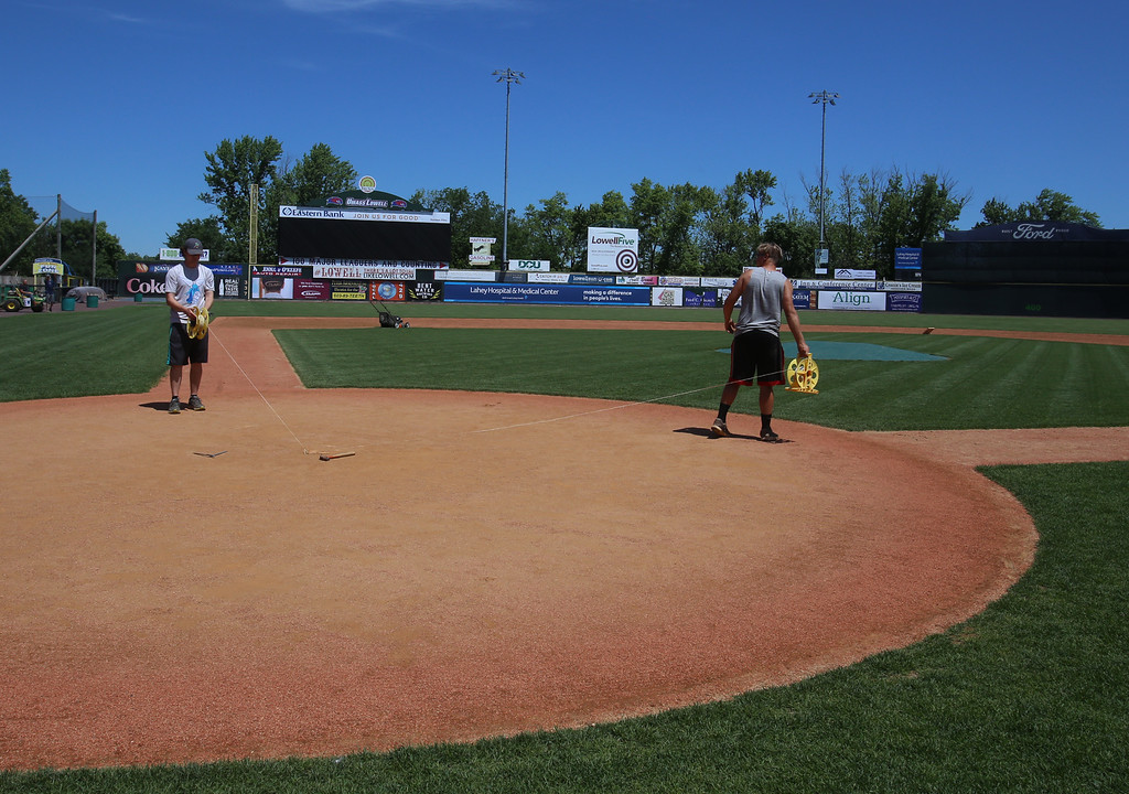. Lowell Spinners Media Day. Intern Collin Gilligan, left, and groundskeeper Kyle Wood, right, prepare to mark the foul lines. (SUN/Julia Malakie)