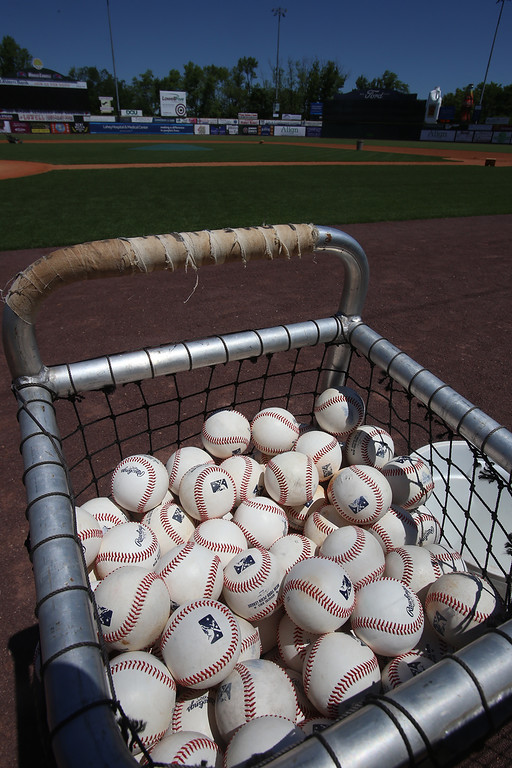 . Baseballs ready for practice during Lowell Spinners Media Day. (SUN/Julia Malakie)