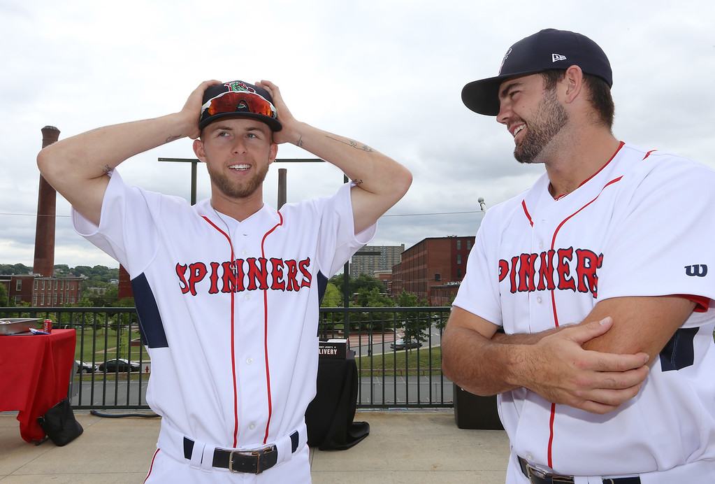 . Lowell Spinners Media Day. Outfielders Cole Brannen (18), left, and Devlin Granberg (35), right. (SUN/Julia Malakie)