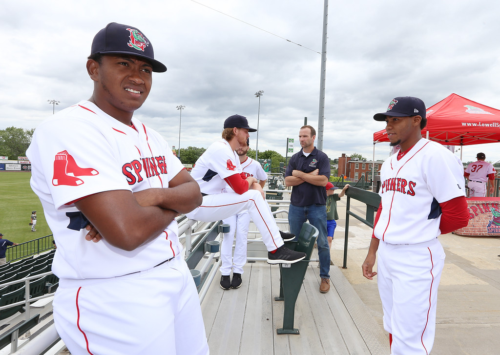 . Lowell Spinners Media Day. Pitchers Victor Garcia (51), left, and Eduard Bazardo (19), right.  (SUN/Julia Malakie)