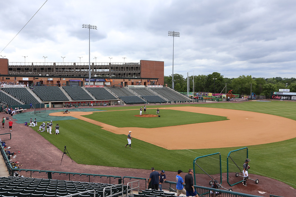 . Lowell Spinners Media Day. Field at LeLacheur Park has been redone for better drainage. (SUN/Julia Malakie)