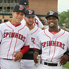 Lowell Spinners Media Day. From left, pitchers Oddanier Mosqueda (58) and Tanner Raiburn (32), and manager Corey Wimberly. (SUN/Julia Malakie)