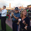 Charlie Baker and Karyn Polito attend the Lowell Spinners game at LeLacheur Park. (SUN/Julia Malakie)