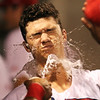 Lowell Spinners vs Hudson Valley baseball. Spinners' Bobby Dalbec (37) gets splashed in the face after hitting a solo home run in the bottom of the third inning. (SUN/Julia Malakie)