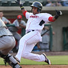 Lowell Spinners vs Connecticut Tigers baseball. Spinners' Juan Barriento (44) scores in the bottom of the third inning. (SUN/Julia Malakie)