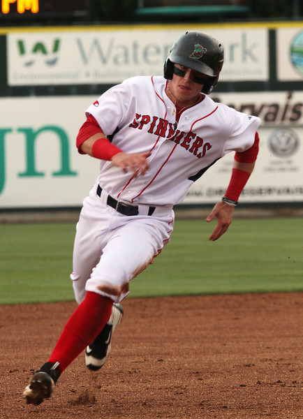 Lowell Spinners vs Connecticut Tigers baseball. Spinners' Brett  Netzer (18) rounds third on the way to scoring in the bottom of the second inning. (SUN/Julia Malakie)