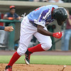 Lowell Spinners vs Connecticut Tigers baseball. Spinners' Marino Campana (23) runs to first but was thrown out on a foul tip third strike in the bottom of the second inning. (SUN/Julia Malakie)