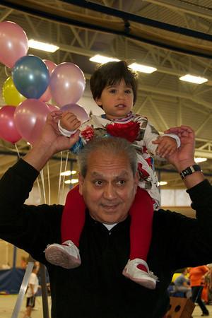 Grandpa Habeeb and Ishana cheer us on!