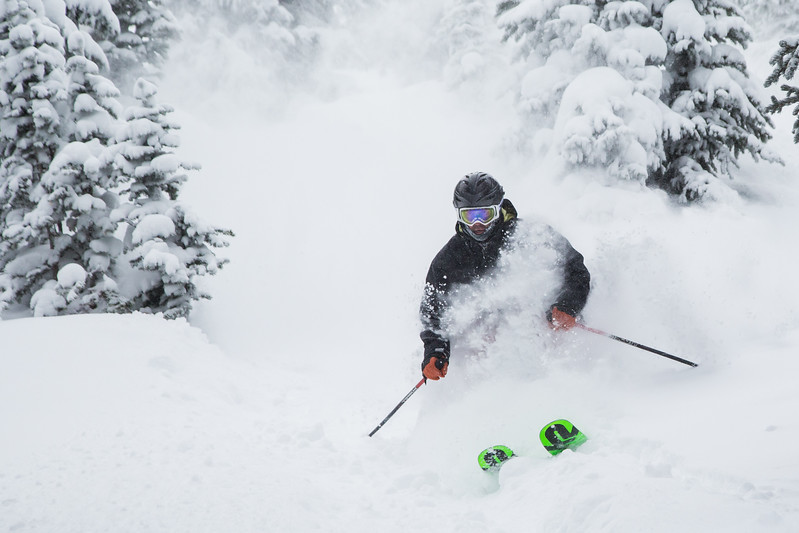 Russell White emerges from the white room during an amazingly deep Saturday on Vail Mountain.  Vail reported 9 inches with snow in the forcast for the next few days.