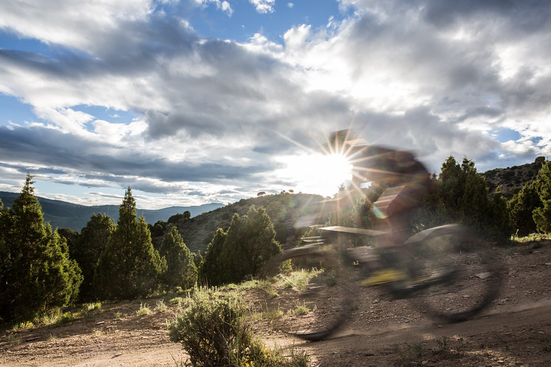 A mountain biker wizzes by during the Berry Creek Bash mountain bike race in Edwards on June 10, 2015. The top section of Endo Alley recieved a new re-route, and the pirate trail above Endo Alley has been destroyed.