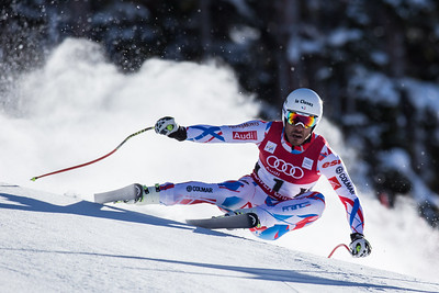 France's Johan Clarey explodes out of a turn in the Pete's Arena section of the Bird of Prey downhill course on the first day of training Wednesday in Beaver Creek. Johan placed 22nd overall in the Men's downhill held on Friday.