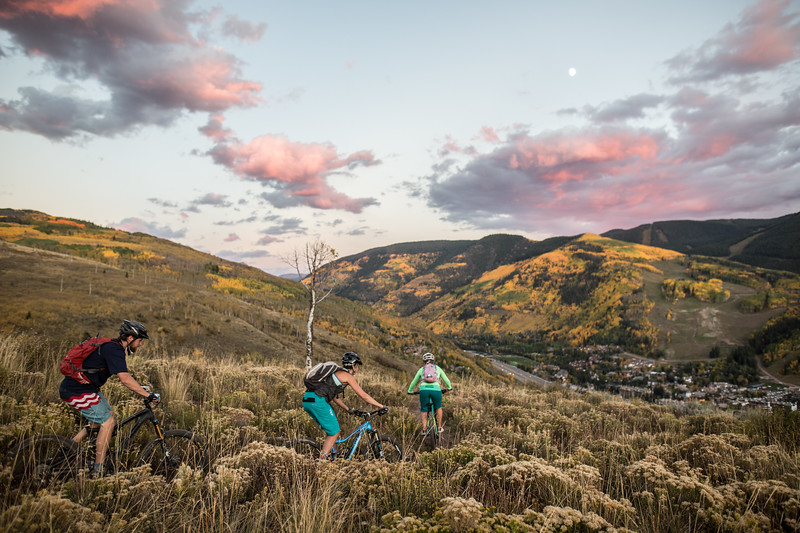 Andrew Armstrong, Jennifer Weintraub and Amy Scherm, left to right, enjoy a spectacular fall afternoon mountain biking the east section of the North Trail in Vail on Thursday. The Vail Outlier Off-Road Festival begins today through Sunday, Sept. 27, featuring both an enduro and cross country mountain bike race as well as 2016 bike and gear demos and live music throughout the weekend.