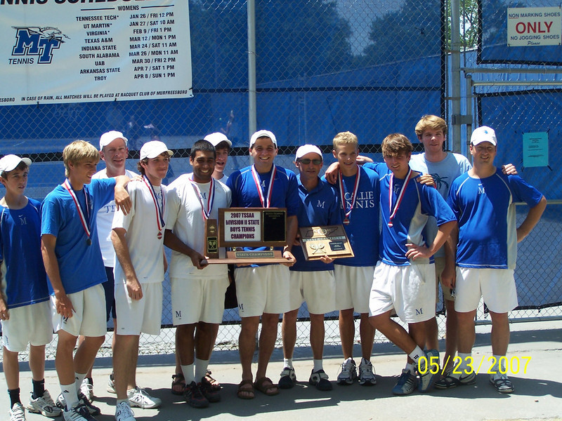 2007 State Champs (repeat):    Alex Harris, Tariq Ismail, J.T. McLemore, Wes Nelson, David Henry, Chris Schlabach, William Decosimo, Taylor Rogers, Sawyer Voges, Coaches Voges, Dexter and Campbell