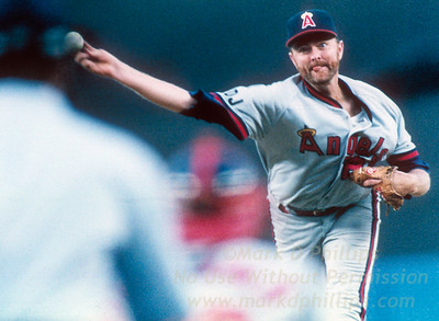 California Angels Bert Blylevin pitches at Yankee Stadium againt the New York Yankees on May 19, 1992, in a 5-4 loss.