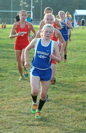 Staff photo by Bryan Helvie<br /> Top finisher: Freshman Mary Poltrack was the top Lady Bulldogs at the BHS cross country invitational.She was second overall with a time of 21:20.