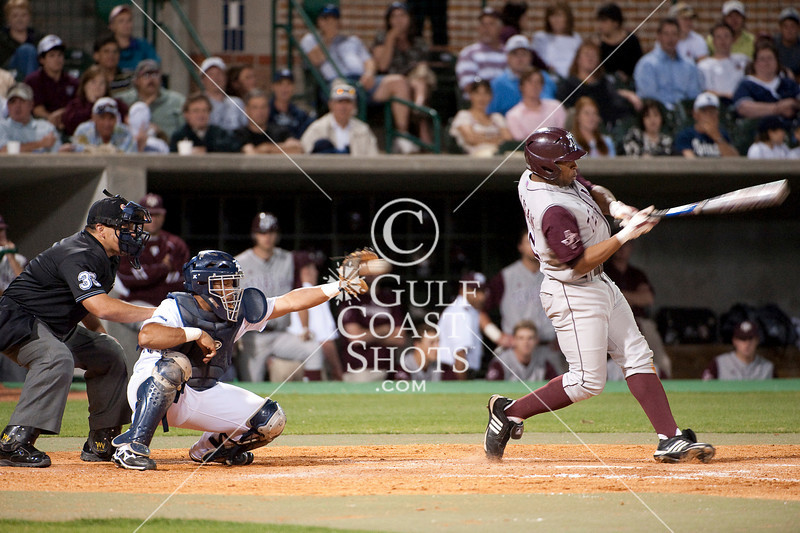The Rice Owls host the Aggies of Texas A&M University in a night game at Reckling Park in Houston.  A&M bests Rice in this Conference USA game, 7-3.