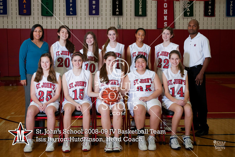 SJS JV Girls pose for the basketball team photo.