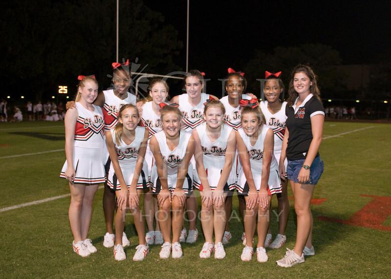 Houston-based St. John's School's Girls JV Cheerleading team poses for portraits during the SJS v EHS varsity football game