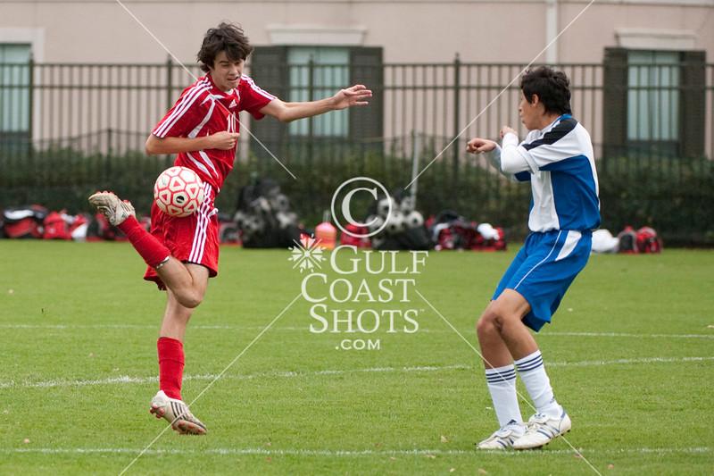 Houston-based St. John's School's upper-school Varsity boys soccer team hosts Austin's St. Andrew's School in opening weekend of SPC Conference play at Scotty Caven Field. SJS wins.