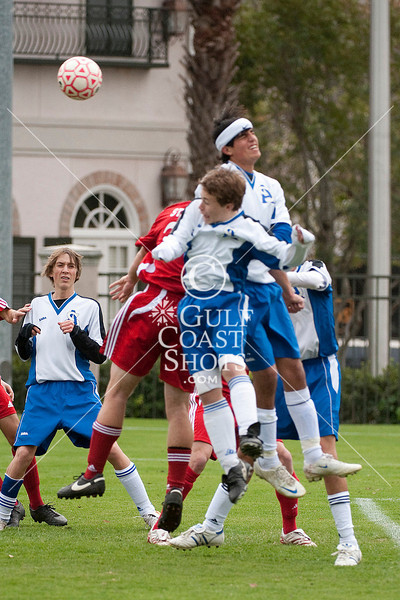 Houston-based St. John's School's upper-school Varsity boys soccer team hosts Austin's St. Andrew's School in opening weekend of SPC Conference play at Scotty Caven Field. SJS wins.