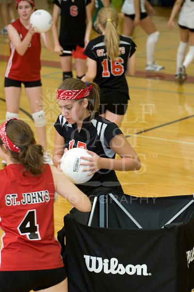 Houston-based St. John's School's Girls JV1 Volleyball team hosts Fort Bend Baptist Academy at Liu Court