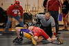 West Briar Middle School hosts the 16-team middle school state wrestling team championship in Houston. In this match, the Saints of First Baptist Academy of Dallas wrestles the falcons of The Kinkaid School of Houston. FBA wins.