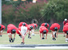 St. John's School's junior varsity football team takes the field in practice jerseys at Northland Christian for the opening scrimmage of the pre-season. The game was delayed, and eventually called for inclimate weather.