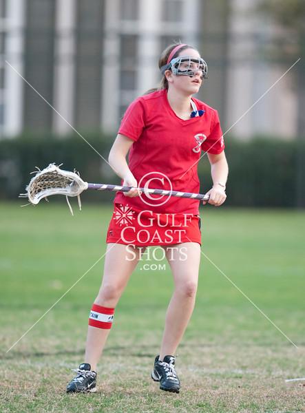 The Bellaire Cardinals play the Mavericks of St. John's in girls varsity lacrosse at Skip Lee Field. SJS wins.