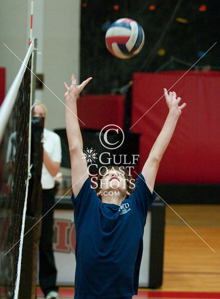 """Ft. Worth Country Day school comes to Houston to play St. John's Mavericks in a best 3 of 5 """"counter"""" SPC volleyball match. SJS wins in three straight."""