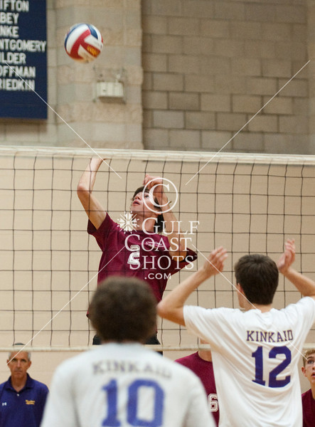Clear Creek plays varisty boys volleyball at Kinkaid. The new CC varsity team put up a good showing but fell short to the Falcons, 23-25 25-14 25-15 25-16.